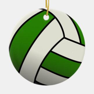 Voleibol verde adorno navideño redondo de cerámica