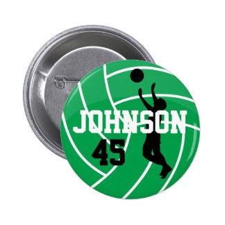 Voleibol verde con el jugador de la silueta pin redondo 5 cm