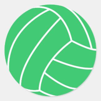 Voleibol verde de Kelly Pegatina Redonda