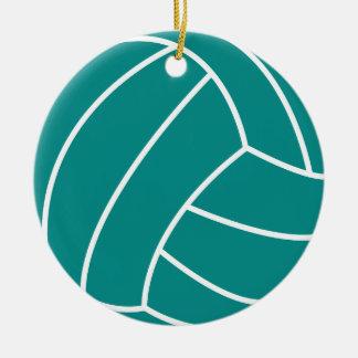 Voleibol verde del trullo adorno navideño redondo de cerámica