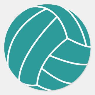 Voleibol verde del trullo pegatina redonda