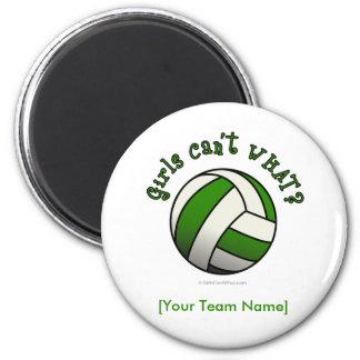 Voleibol verde imán redondo 5 cm