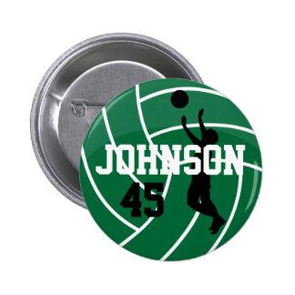 Voleibol verde oscuro con el jugador de la silueta pin redondo 5 cm