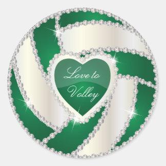 Voleibol verde oscuro del corazón elegante del pegatina redonda