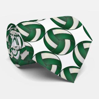 Voleibol verde oscuro y blanco deportivo corbatas personalizadas
