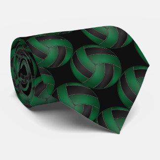Voleibol verde oscuro y negro deportivo corbata