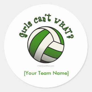 Voleibol verde pegatina redonda
