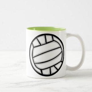 Voleibol verde taza de dos tonos