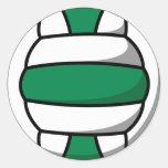 voleibol verde y blanco pegatina redonda
