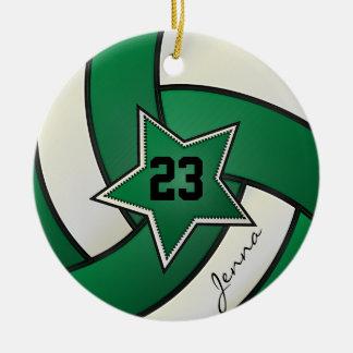 Voleibol verde y negro de la estrella adorno navideño redondo de cerámica