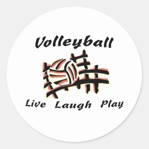Voleibol: Vive el juego de la risa Pegatina Redonda
