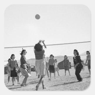 Voleibol WW2 del juego de los chicas de Manzanar Pegatina Cuadrada