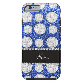 Voleiboles azules conocidos de encargo del brillo funda para iPhone 6 tough