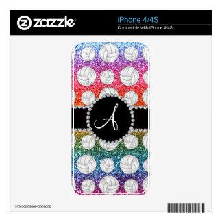 Voleiboles brillantes del brillo del arco iris del skins para iPhone 4
