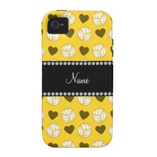 Voleiboles y corazones amarillos conocidos de iPhone 4/4S funda