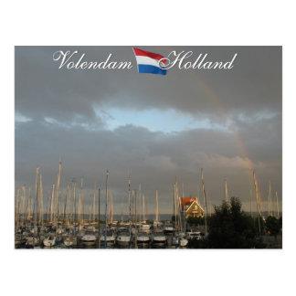 Volendam Harbor Holland Postcard