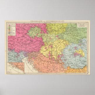 Volkerkarte v Oesterreich Ungarn, Austria Hungría Póster