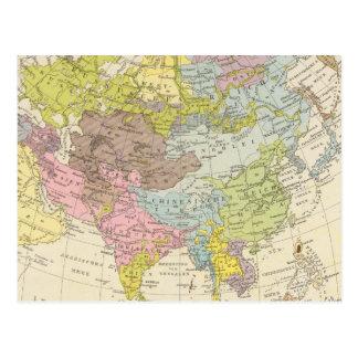 Volkerkarte von Asien - Map of Asia Postcard
