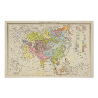 Volkerkarte von Asien - Map of Asia Poster