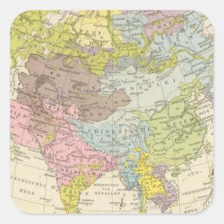Volkerkarte von Asien - Map of Asia Square Sticker