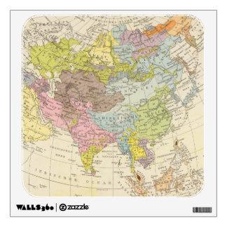 Volkerkarte von Asien - Map of Asia Wall Decal