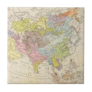 Volkerkarte von Asien - mapa de Asia Azulejo Cuadrado Pequeño