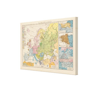 Volkerkarte von Europa, Map of Europe Stretched Canvas Print