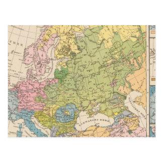 Volkerkarte von Europa, Map of Europe Postcard
