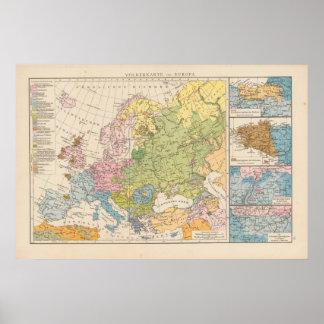Volkerkarte von Europa, Map of Europe Poster