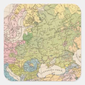 Volkerkarte von Europa, Map of Europe Square Sticker