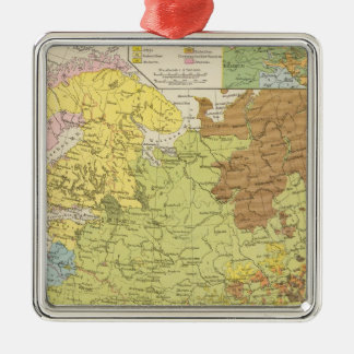 Volkerkarte von Russland - Map of Russia Metal Ornament