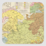 Volkerkarte von Russland - mapa de Rusia Pegatina Cuadrada