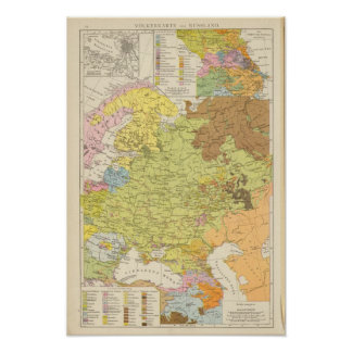 Volkerkarte von Russland - mapa de Rusia Póster