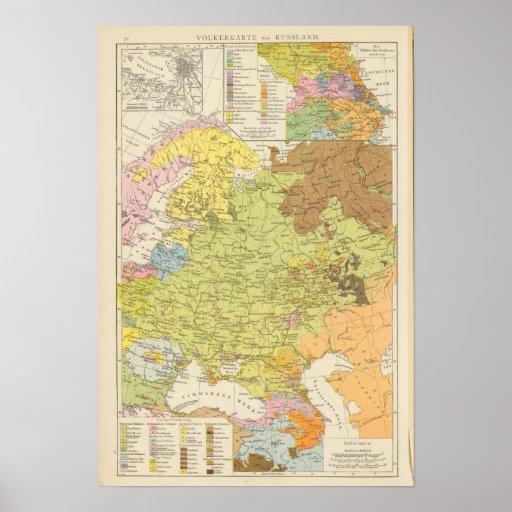 Volkerkarte von Russland - mapa de Rusia Posters