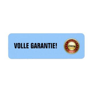 Volle Garantie - etiquetas Etiquetas De Remite