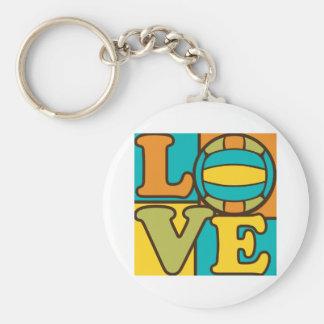 Volleball Love Basic Round Button Keychain