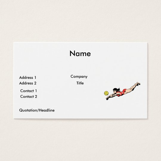 volley ball dive female volleyball player business card