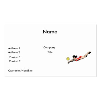 volley ball dive female volleyball player Double-Sided standard business cards (Pack of 100)