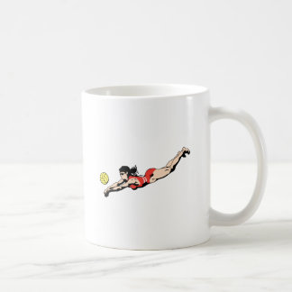 volley ball dive female volleyball player mugs