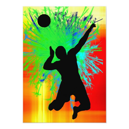 Volley Ball Service Fireworks Card