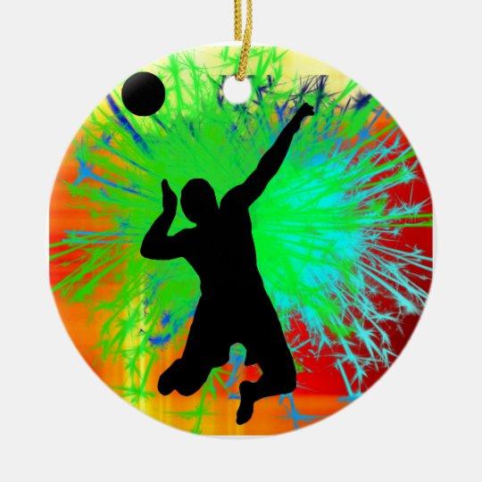 Volley Ball Service Fireworks Ceramic Ornament
