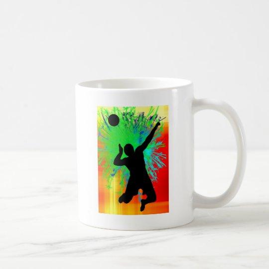 Volley Ball Service Fireworks Coffee Mug
