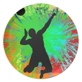 Volley Ball Service Fireworks Dinner Plate