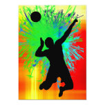 Volley Ball Service Fireworks 5x7 Paper Invitation Card