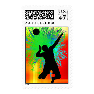 Volley Ball Service Fireworks Postage