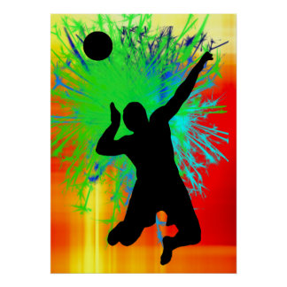 Volley Ball Service Fireworks Poster