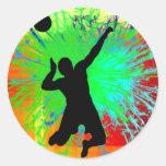 Volley Ball Service Fireworks Classic Round Sticker