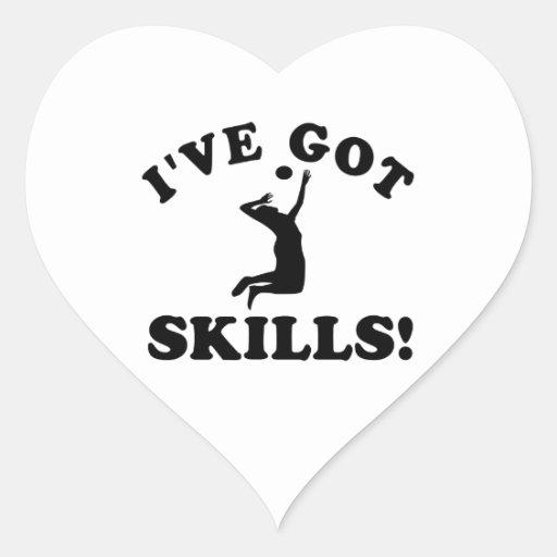 volley ball skills  Vector Designs Heart Sticker