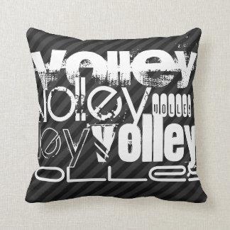 Volley; Black & Dark Gray Stripes Throw Pillow