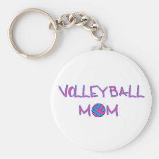 Volley Mom Basic Round Button Keychain